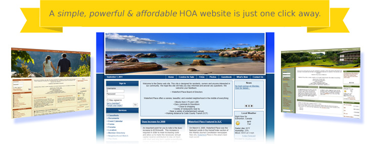 A simple, powerful & affordable HOA website is just one click away.